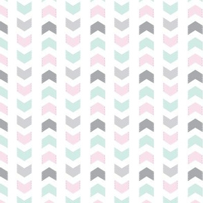 Chevron + // Mint Pink Grey