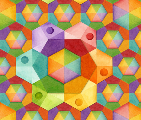 Dimensional Rainbow Hexagons fabric by patriciasheadesigns on Spoonflower - custom fabric