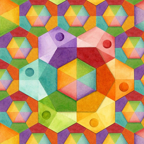 Dimensional Rainbow Hexagons