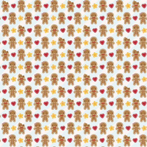 Mini Cookie Cute Gingerbread Men fabric by marcelinesmith on Spoonflower - custom fabric