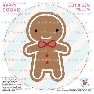 Cookie Cute Gingerbread Man Mini Pillow