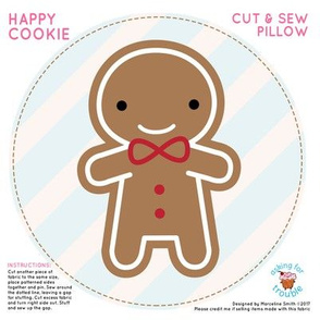 Cookie Cute Gingerbread Man Mini Pillow