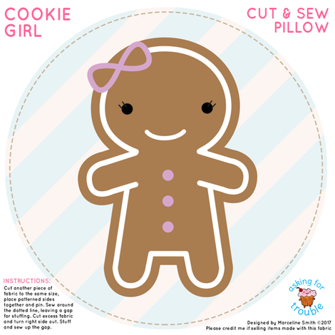 Cookie Cute Gingerbread Girl Mini Pillow fabric by marcelinesmith on Spoonflower - custom fabric