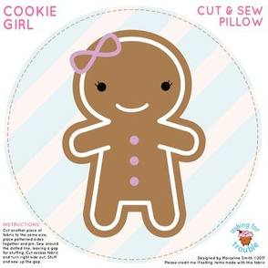 Cookie Cute Gingerbread Girl Mini Pillow