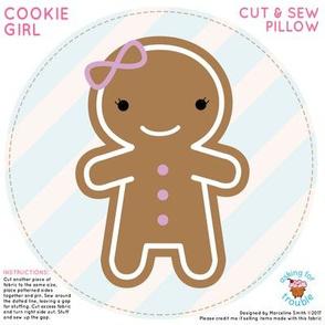 Cookie Cute Gingerbread Girl Mini Pillow