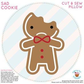 Sad Bitten Gingerbread Man Mini Pillow