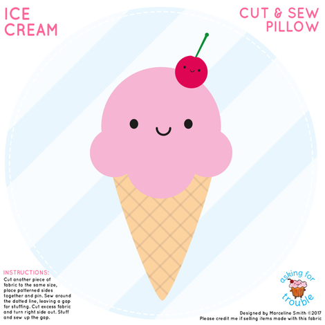 Ice Cream Mini Pillow fabric by marcelinesmith on Spoonflower - custom fabric
