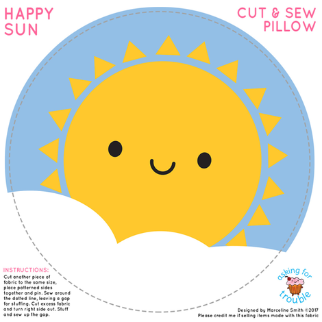 Happy Sun Mini Pillow fabric by marcelinesmith on Spoonflower - custom fabric
