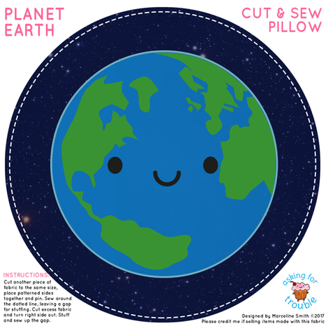 Kawaii Planet Earth Mini Pillow fabric by marcelinesmith on Spoonflower - custom fabric