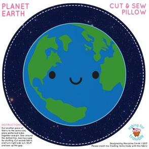 Kawaii Planet Earth Mini Pillow