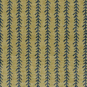 Feather Stripe - Navy, Lichen, Linen