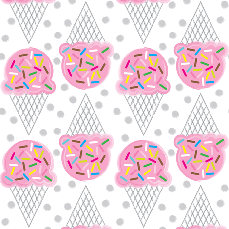 pink ice-cream-cones-with-multicolor-sprinkles fabric by lilcubby on Spoonflower - custom fabric