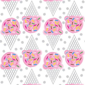 pink ice-cream-cones-with-multicolor-sprinkles