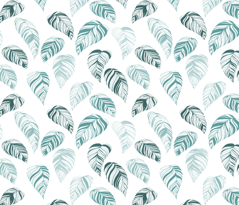 summer_leaves-teal fabric by youdesignme on Spoonflower - custom fabric