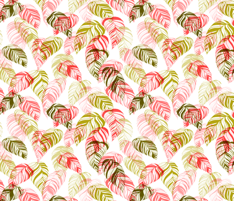 summer_leaves-pink_and_green fabric by youdesignme on Spoonflower - custom fabric