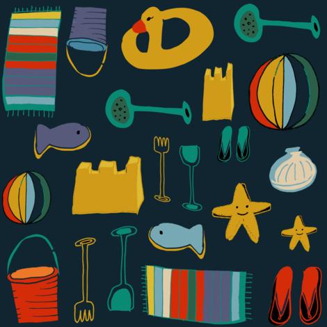 Beach Gear navy fabric by bruxamagica on Spoonflower - custom fabric