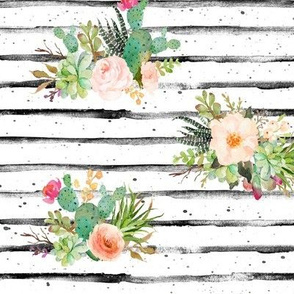 Succulents on Grunge Stripe Watercolor