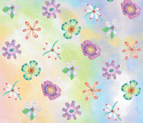 Candy Flowers by Diane Costanza Studio fabric by diane_costanza_studio on Spoonflower - custom fabric