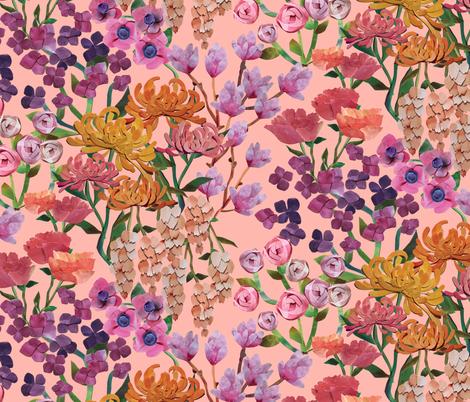 Paper Cut Cascading Garden {Petal} fabric by ceciliamok on Spoonflower - custom fabric