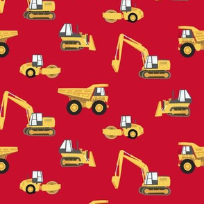 construction trucks - yellow on red