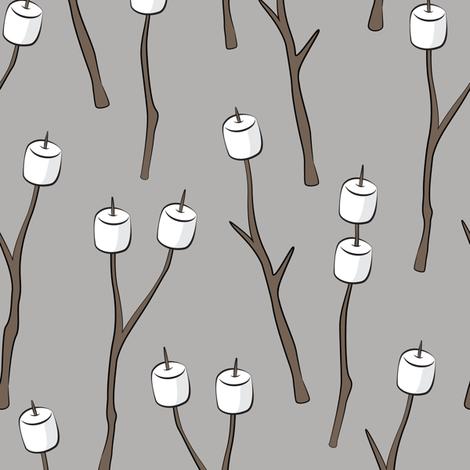 roasting marshmallows on light grey fabric by littlearrowdesign on Spoonflower - custom fabric
