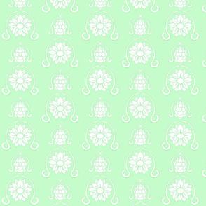 Flower Damask 3- Green