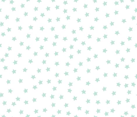 Twinkle_Stars_Yellow_Mint_on_white fabric by bzbdesigner on Spoonflower - custom fabric