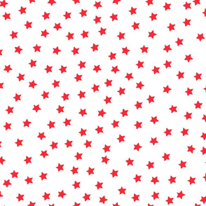 Over the Moon Red Stars on White