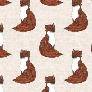 Zentangle Illustrated Earthy Fox Animal Print Pattern
