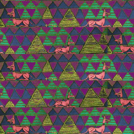 Pharaoh_hound-BronzeOnPurple6 fabric by cloudsong_art on Spoonflower - custom fabric