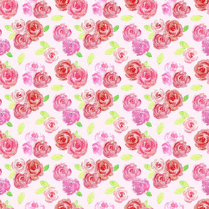 Red and Pink Watercolor Roses Floral Pattern