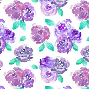 Purple Roses Watercolor Floral Pattern