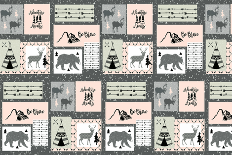BE BRAVE PETAL PINK fabric by moosedesigncompany on Spoonflower - custom fabric