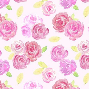 Pretty Pink Roses Floral Watercolor Pattern