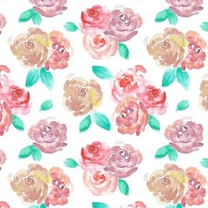 Red Roses Floral Watercolor Pattern