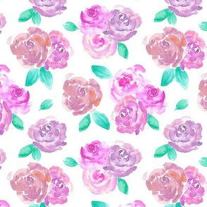 Pink and Purple Blush Roses Watercolor Pattern