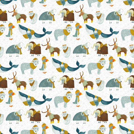 Pattern #72 - Arctic Animals with woolly scarves - SM  fabric by irenesilvino on Spoonflower - custom fabric