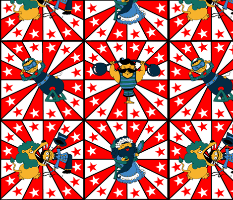 Retro Circus Funny Performers fabric by canarystyle on Spoonflower - custom fabric