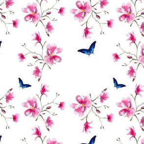 Watercolor magnolia with butterflies