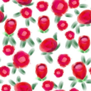 Rose floral pattern fabric red and white
