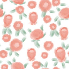 Rose floral pattern fabric peach