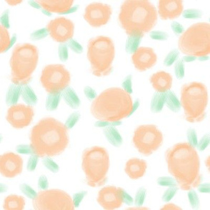 Rose floral pattern fabric white