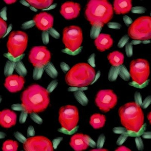 Rose floral pattern fabric red