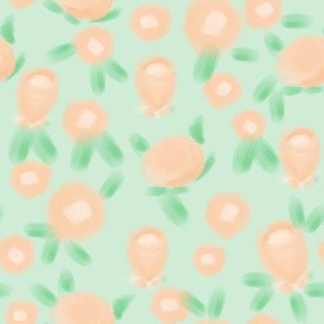 Rose floral pattern fabric mint