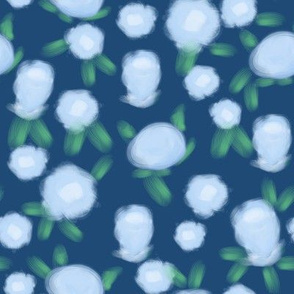 Rose floral pattern fabric blue