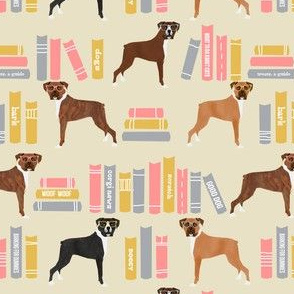 Boxer library books cute dog breed lite