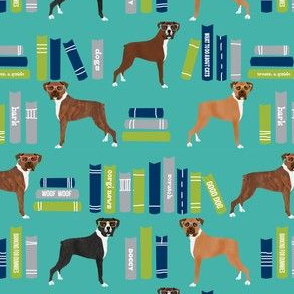 Boxer library books cute dog breed turquoise