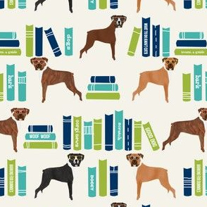Boxer library books cute dog breed cream