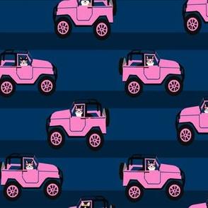 tri corgi adventure fabric pink car and dog fabric cute corgi design - navy