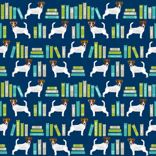 Jack Russell Terrier library books pattern blue fabric by petfriendly on Spoonflower - custom fabric